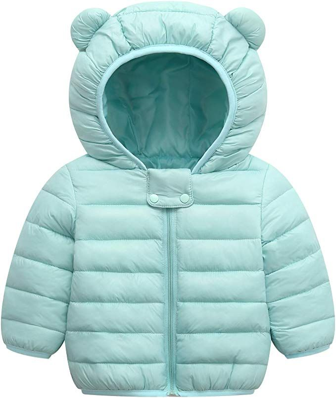 Baby Girls Thick Warm Padded Hoodie Coat Toddler Adorable Bear Fall Winter Puffy Outdoor Jacket Packable